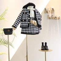 new autumn and winter 3 7 year old girl baby fashion small fragrance style delicate hemming design plaid jacket dress suit