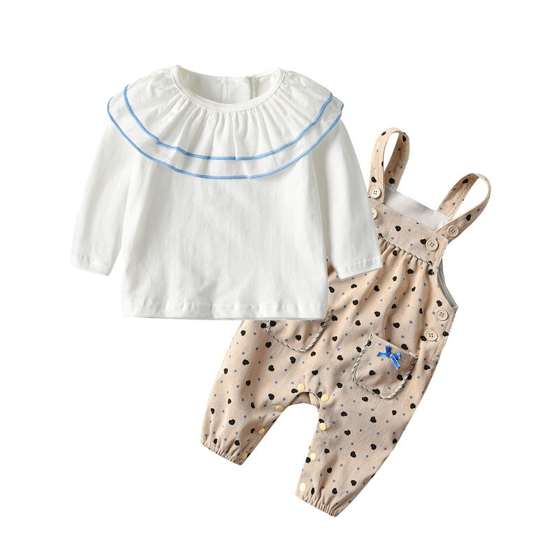 Yg Brand Children's Wear, Ruffle Long Sleeve Baby Shirt Top + Baby Out Sling Casual Jeans, Children'
