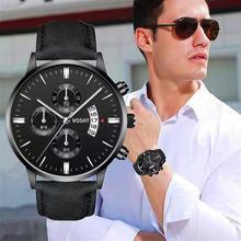 Relogio Masculino analogique Date montres hommes mode Sport boîte en acier inoxydable bracelet en cuir montre Quartz affaires montre-bracelet mâle