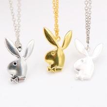 Mignon collier de lapin tricolore, breloques de lapin, breloques de Gentleman de lapin, breloques de bijoux danimaux bricolage, cadeaux damis A1715