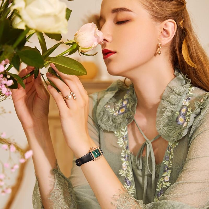IW Swiss Watch Ladies Fashion Luxury Ladies Watch Diamond Small Square Quartz Watch Small Green Watch enlarge