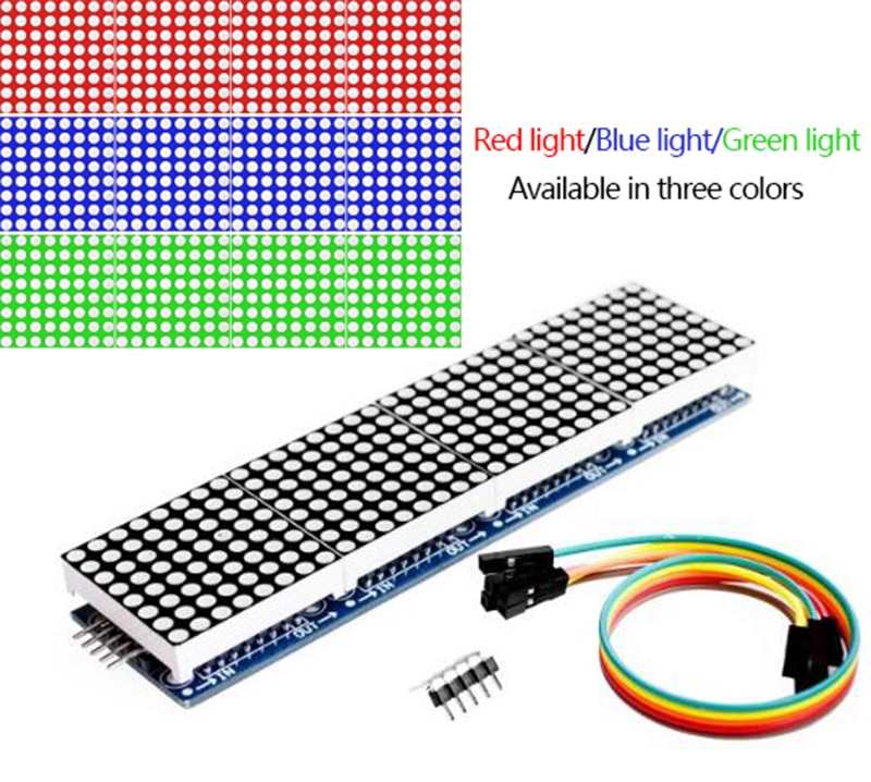 max7219 led microcontroller 4 in 1 display dot matrix module 5v operating voltage for arduino 8x8 dot matrix common Max7219 Dot Matrix Module Control Single Chip Microcomputer Module 4-in-1 Display Send 5P Line (H6a4)