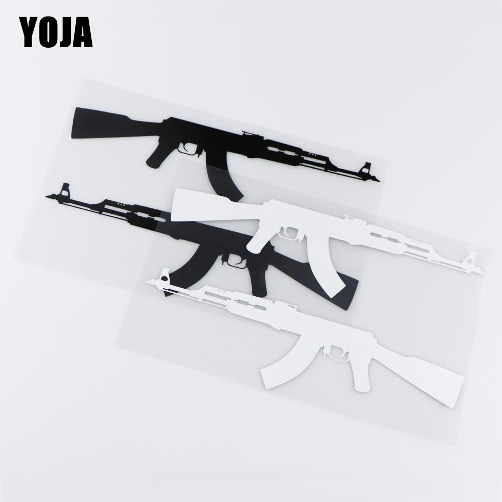 YOJA-autocollants en vinyle de dessin animé   Autocollants de personnalité, pour décor de voiture, pistolet, x 13,7cm