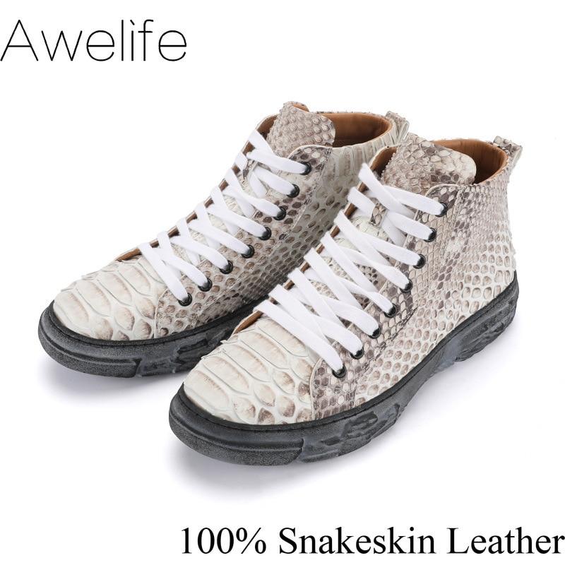 جلد الثعبان أحذية الرجال اللباس 100% جلد طبيعي جودة عالية حذاء رياضة موضة فاخرة جلد الثعبان رجالي الترفيه حذاء كاجوال