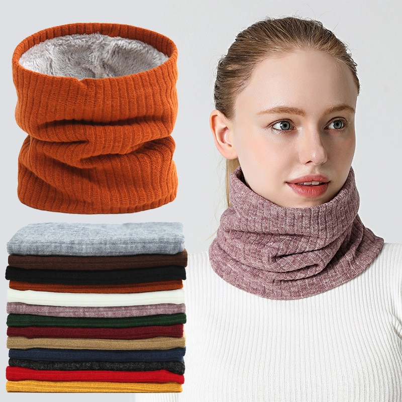 Winter Solid Color Women Scarf Men Thickened Plush Collar Scarves For Girls Neck Scarves Cotton Unisex Knitted Ring Scarf