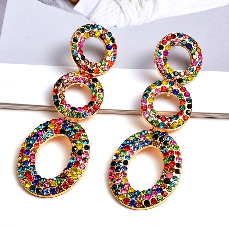 AliExpress - Wholesale Fashion Round Metal Colorful Crystals Long Dangle Drop Earrings Fine Jewelry Accessories For Women Christmas Gift