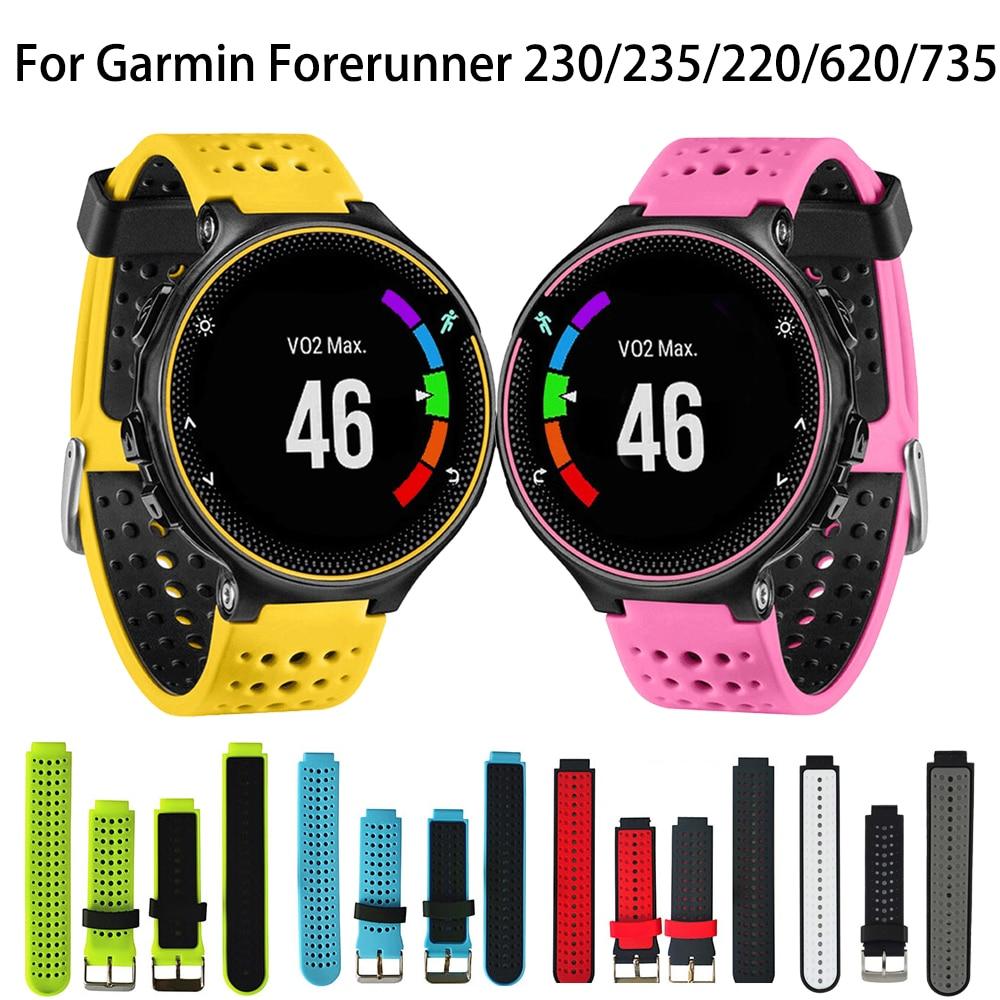 Colorido reemplazo Garmin Forerunner 230/235/220/620/630/735XT/235 Lite deporte al aire libre Silicagel correa de reloj inteligente