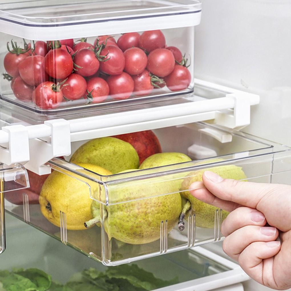 Refrigerator Pull-out Storage Box Egg Holder Plastic Refrigerator Storage Container Kitchen Drawer Fruit Box Organizer