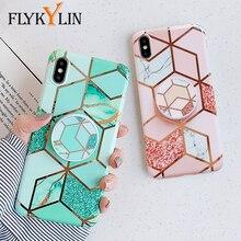 Flykylin suporte caso para huawei p20 lite p30 pro capa traseira para iphone 11 pro max se 2 mármore arte imd silicone telefone coque