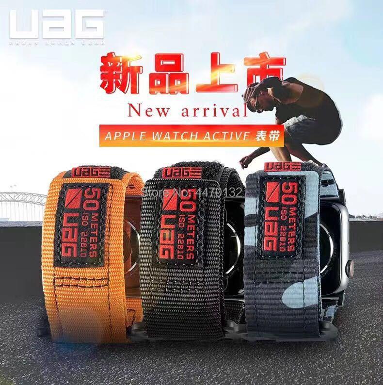 UAG para Apple Watch band 1 / 2 / 3 / 4 / 5 Nylon movimiento de bucle al aire libre transpirable Anti-sudor Iwatch4 / 5 reemplazar 44mm42mm40mm22