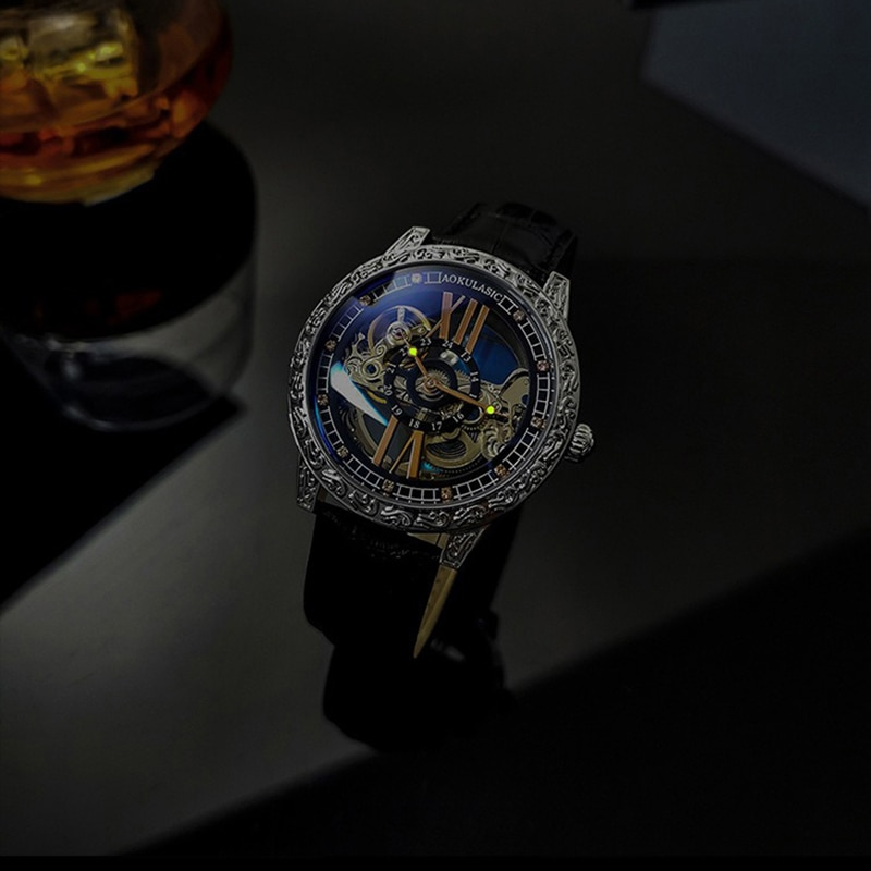 AOKULASIC Fashion Casual Men's Watches Leather Band Mechanical Carved Hollow Tourbillon Wristwatches For Man Watch Luminous enlarge