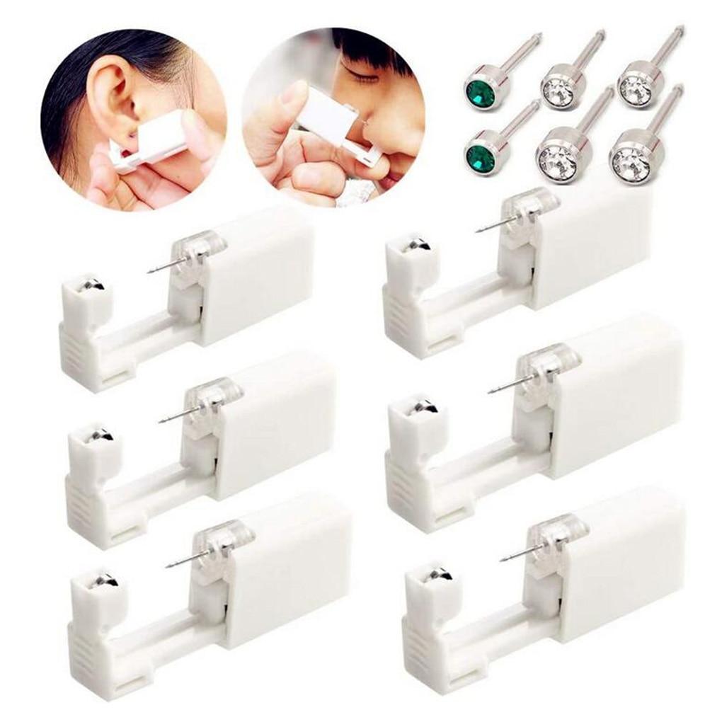 6 uds. Pistola de Piercing de oreja estéril desechable con piercings herramienta máquina Kit para niñas niños hombres mujeres Unisex