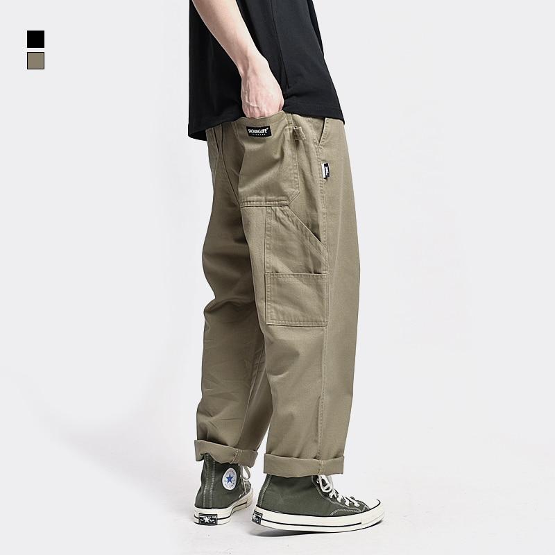 Safari Style! Multi-pocket Cargo Trousers Men Loose Straight Casual Baggy Pants Mens Work Canvas Pants