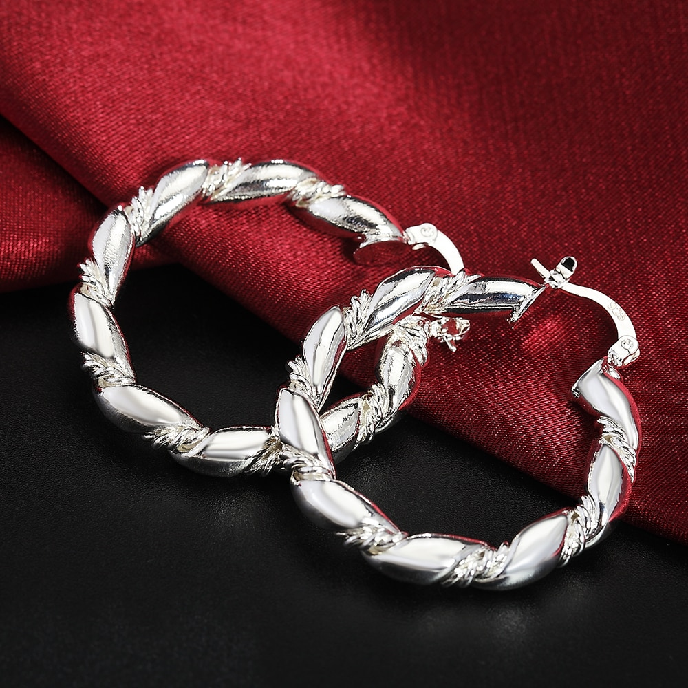 AliExpress - 2020 New 925 Sterling Silver Earrings Twisted Pair Fashion Earring Dress Ladies Jewelry Gifts