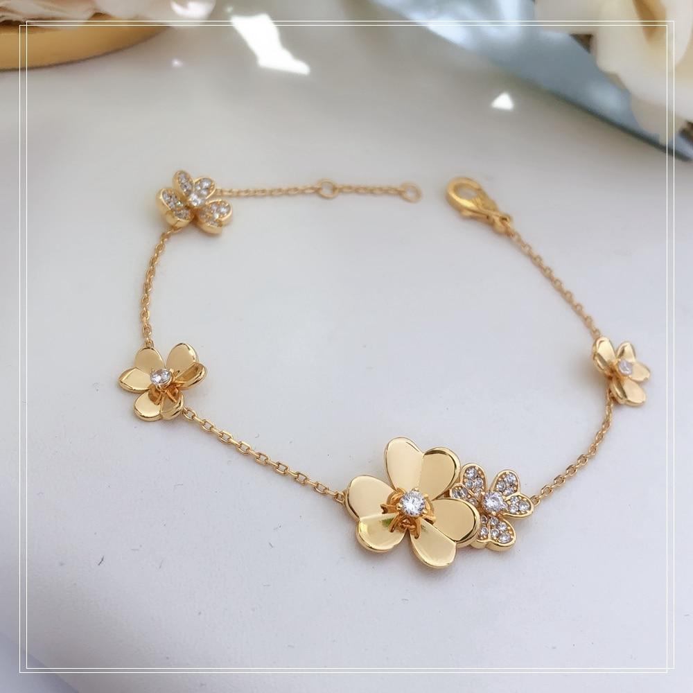 S925 فضة مطلي 18-karat الذهب ثلاثة زهرة السيدات سوار عالية الجودة زهرة ذهبية شحن مجاني هدية