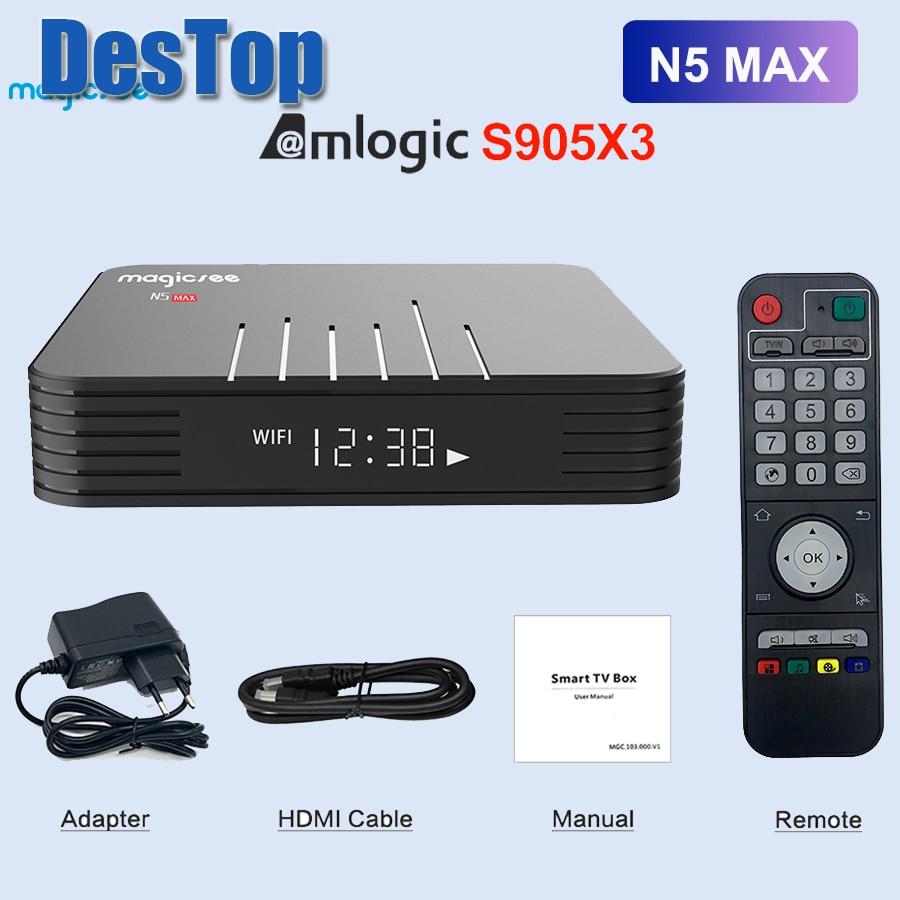 Magicsee-Smart BOX N5 Max, Android 9,0, TV Box con Amlogic S905X3, 4 GB, 32 GB-64 GB de Rom, wi-fi Dual 2,4 + 5 GHz, Bluetooth 4,0, 4K, LAN, 100M, 10 Uds., DHL