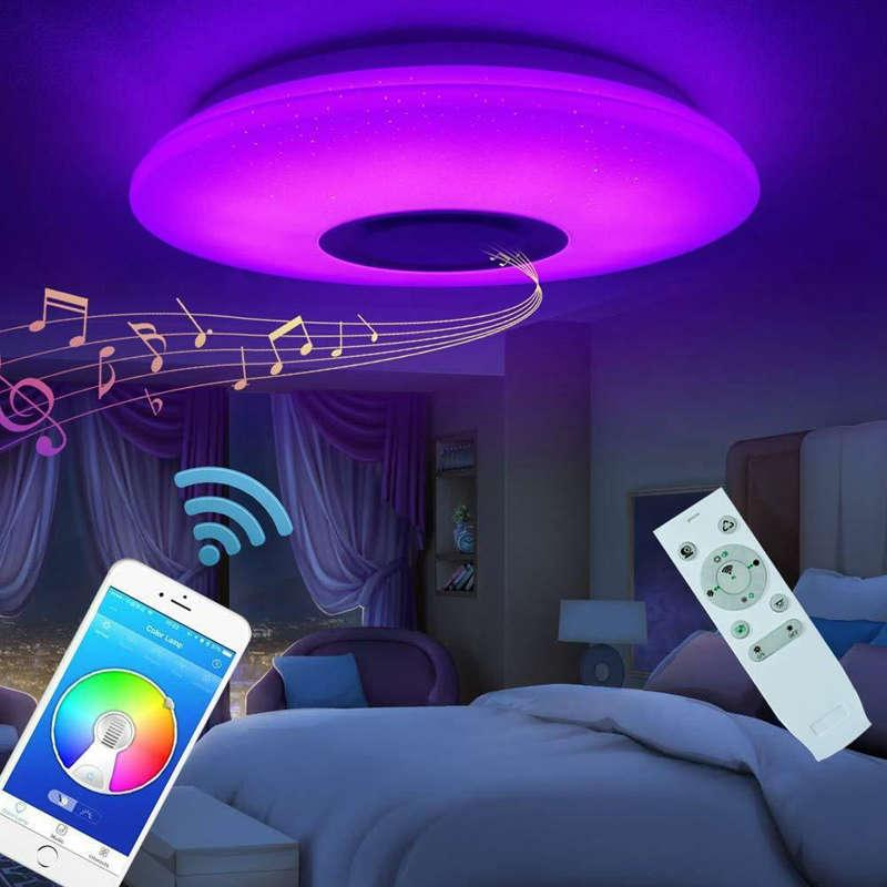 nova musica led luz de teto lampada 60w rgb montagem embutida redonda starlight musica