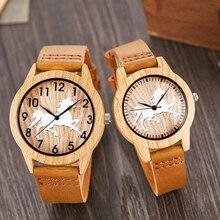 Nouveau bambou ou cheval Design Imitation bois montre hommes femmes Couple montre-bracelet en bois montres acrylique mâle marron horloge-bracelet Reloj