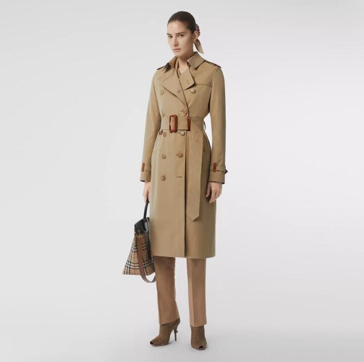 معطف ربيعي نسائي مزدوج الصدر بأكمام طويلة ، معطف واق من المطر ، ملابس نسائية ، كاكي وأسود