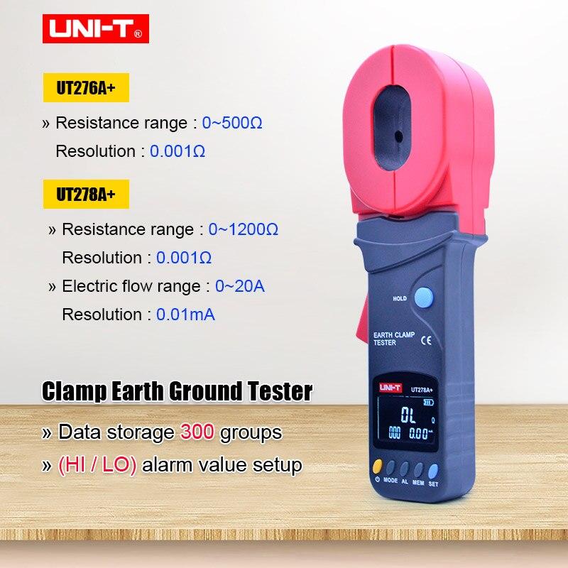 Digital Display Clamp Earth Ground Tester UNI-T UT276A+ UT278A+ Clamp Earth Tester earth Resistance tester Data storage