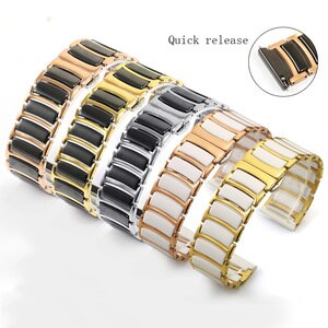 Stainless steel +Ceramic watchband 16 18 20 22mm bracelet butterfly buckle For male and female watch chain Quick release