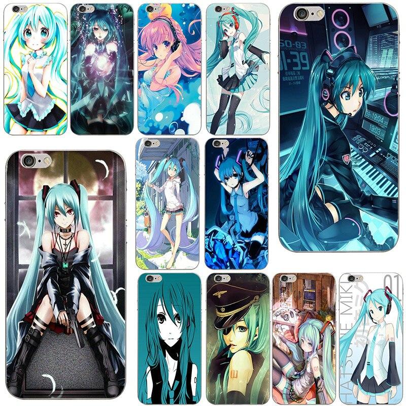 Fundas suaves para teléfono móvil de silicona TPU para iPhone X 10 7 8 Plus 4 4S 5 5S SE 5C bolsas moda japonesa Anime Hatsune Miku chica de belleza