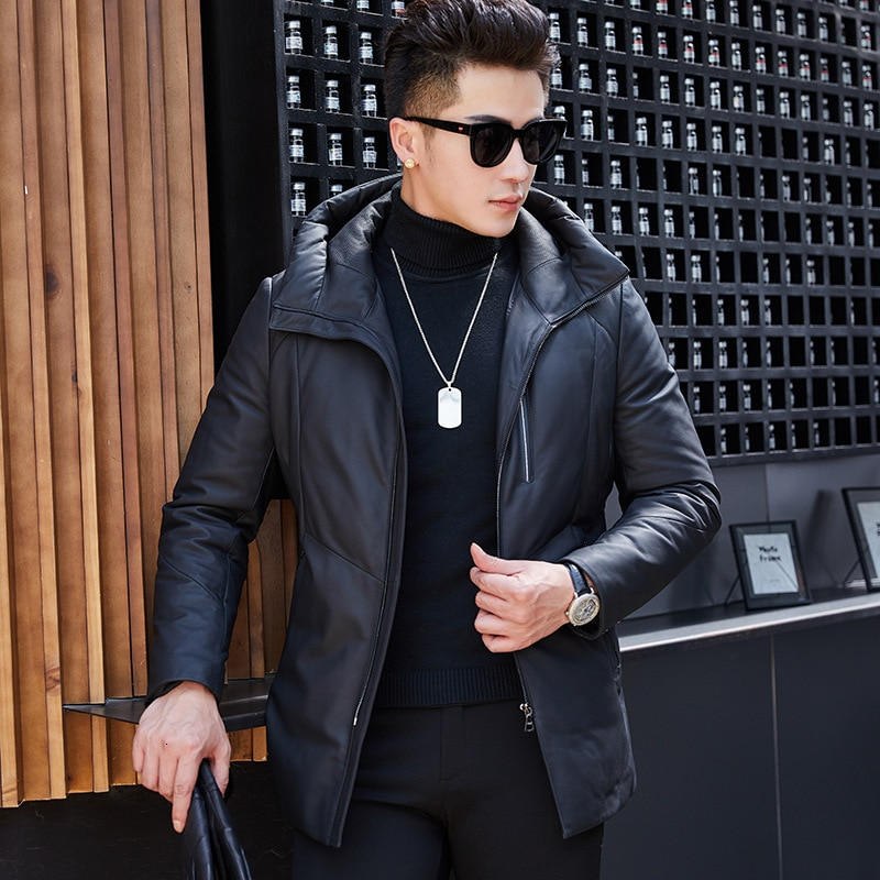 Leather Jacket Men Sheepskin Genuine Leather Jacket Duck Down Winter Coat for Mens Clothes 2020 Jaqueta De Couro SY1912F YY916