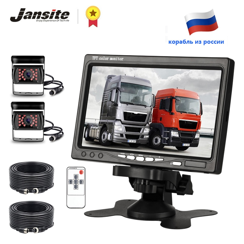 Jansite 7 Truck Rear view camera Monitor Aviation Head Reverse Camera Parking Rearview System Waterproof cam For Harvester