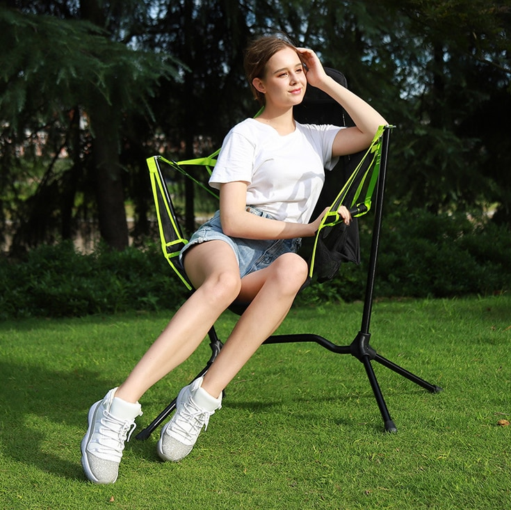 Outdoor Camping Fishing Chairs Folding Recliner Luxury Camp Chair Breathable Mesh Construction 2 Side Pockets Hiking Picnic enlarge