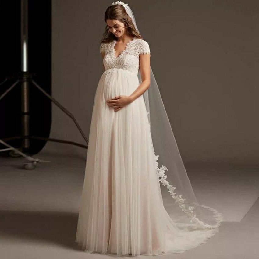 فستان زفاف طويل للنساء الحوامل مفتوح الظهر الخامس الرقبة أنيقة حجم كبير فستان زفاف كم كاب الدانتيل تول رداء دي ماري مخصص