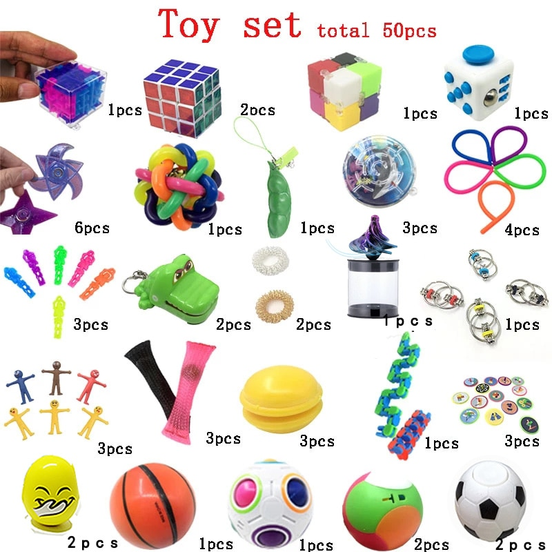 Funny Combination 50 Pieces Extrusive-Solving Fidget Kids Toys  Various Styles Set Wholesale