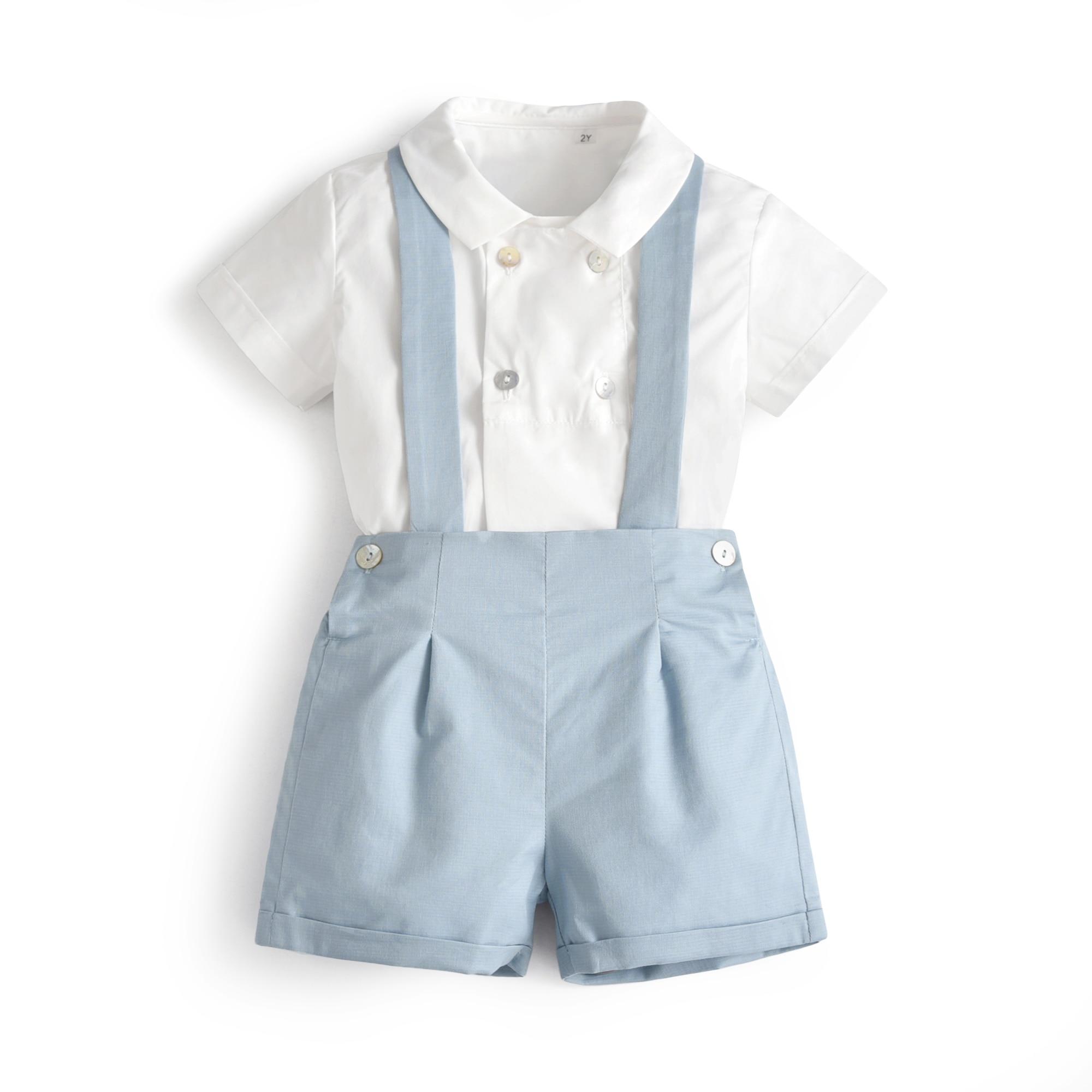 Комплект летней одежды для мальчиков, рубашка с коротким рукавом и шорты на подтяжках, костюм для новорожденных, испанский джентльмен