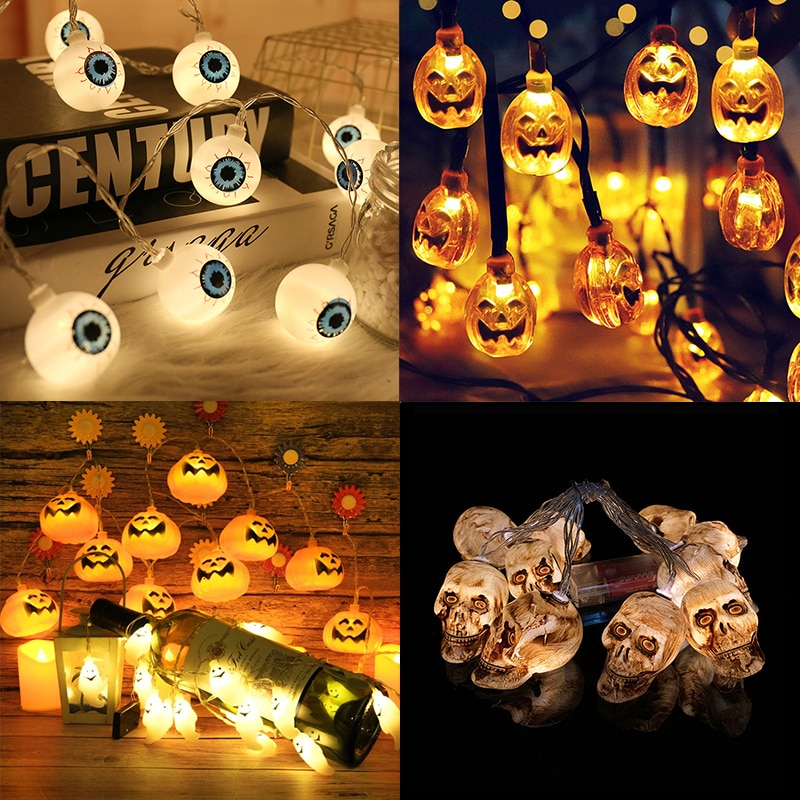 20 LED Halloween Lights Pumpkin Ghost Skeletons Bat Spider Led String Light Festival Bar Home Party Decor Halloween Decoration halloween cartoon doll pumpkin witch cat party ideal decoration for club bar shop home showcase bar table shelf holiday decor