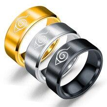 New Leaf Ring Konoha Uzumaki Symbal Logo Sign Sasuke Itachi Ninja Fashion Titanium Steel Anime Jewel