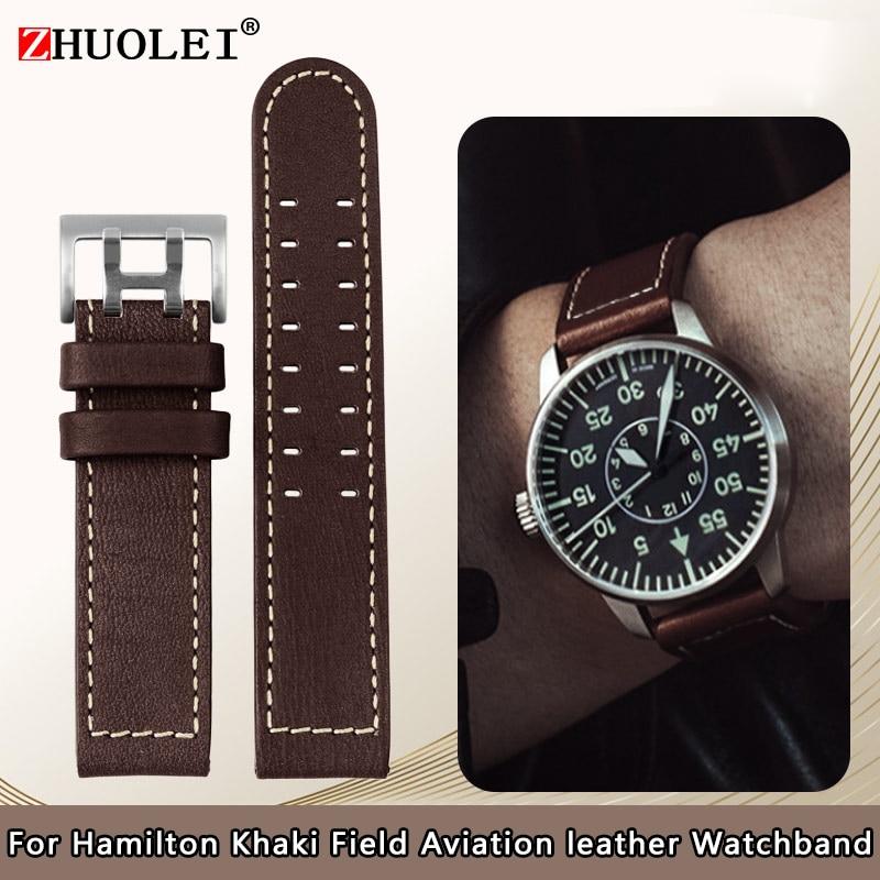 For Hamilton Khaki aviation Watch H77616533 H70615733 Watch Strap Genuine Leather jazz field Men Wat