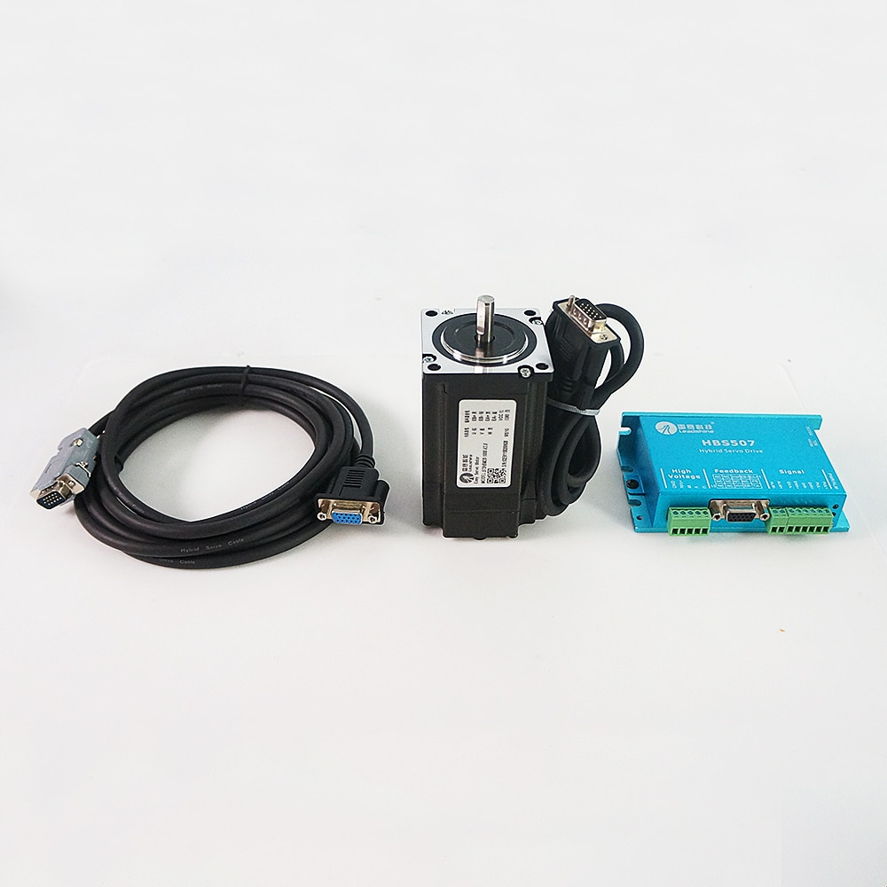 Leadshine HBS507 ac servo motor driver + 3 phase 2.0N.m 573HBM20-1000 step motor with encoder line enlarge