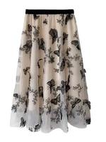 chic 2021 spring summer elegant sweet women gauze embroidered butterflies midi skirts a line ladies mesh bottoms female