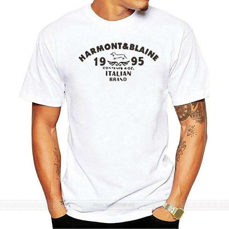 LISHIABUK, camisetas de cuello redondo para hombre, Harmont Blaine, camisetas de algodón a la moda para hombre, a la moda S-3XL camisetas blancas, camiseta de marca de algodón para hombre