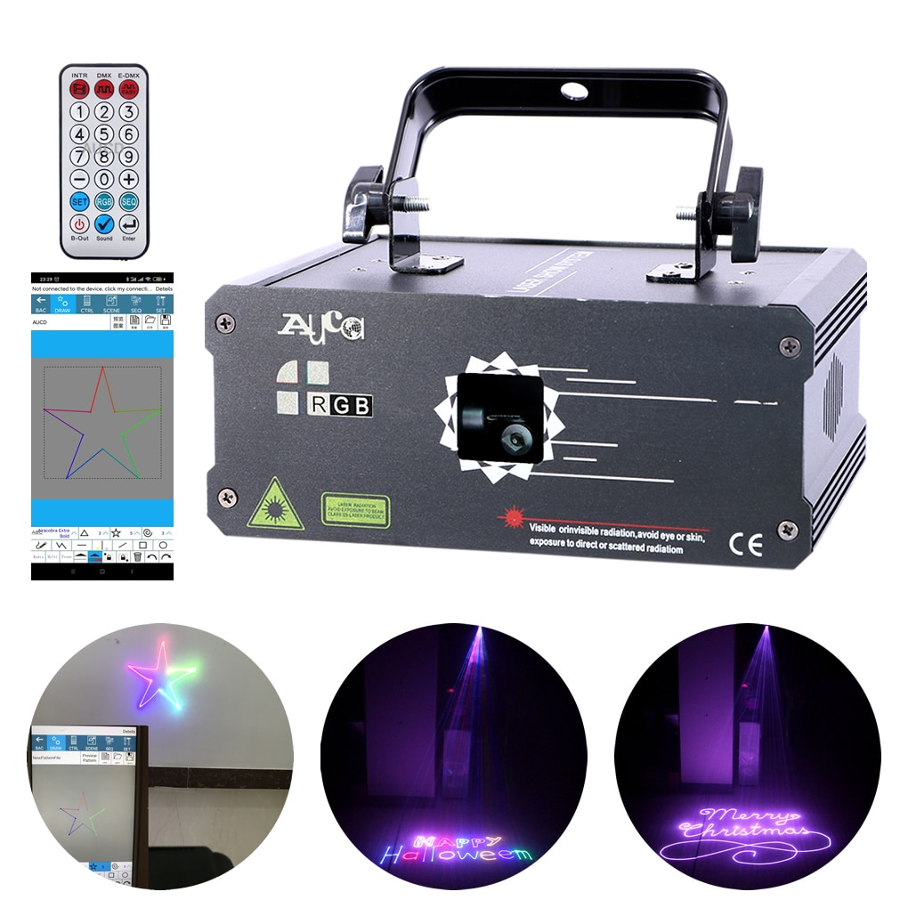 500mW 1W App Software Edit DMX Laser DIY Projector Color Music Light Lamp For Home Disco DJ Club Party Stage Strobe Luces Lights
