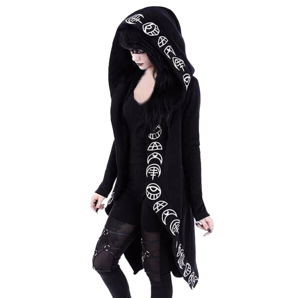 Women Coat Gothic Punk Moon Letter Print Hooded 2019 Autumn Winter Long Sleeve Black Jacket Zipper Coat Casual Jacket #SS