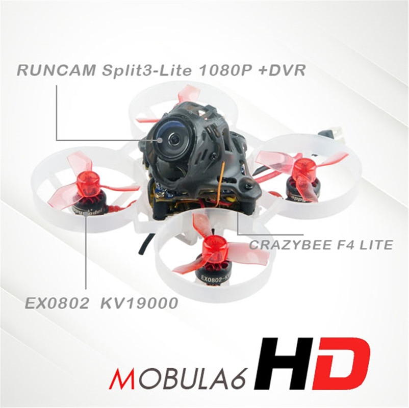 Happymodel-طائرة بدون طيار صغيرة مزودة بكاميرا ، طراز Mobula6 HD / Mobula 6 1S 65 مللي متر Crazybee F4 Lite ، Cinewhoop ، FPV ، BNF w/ Runcam 3