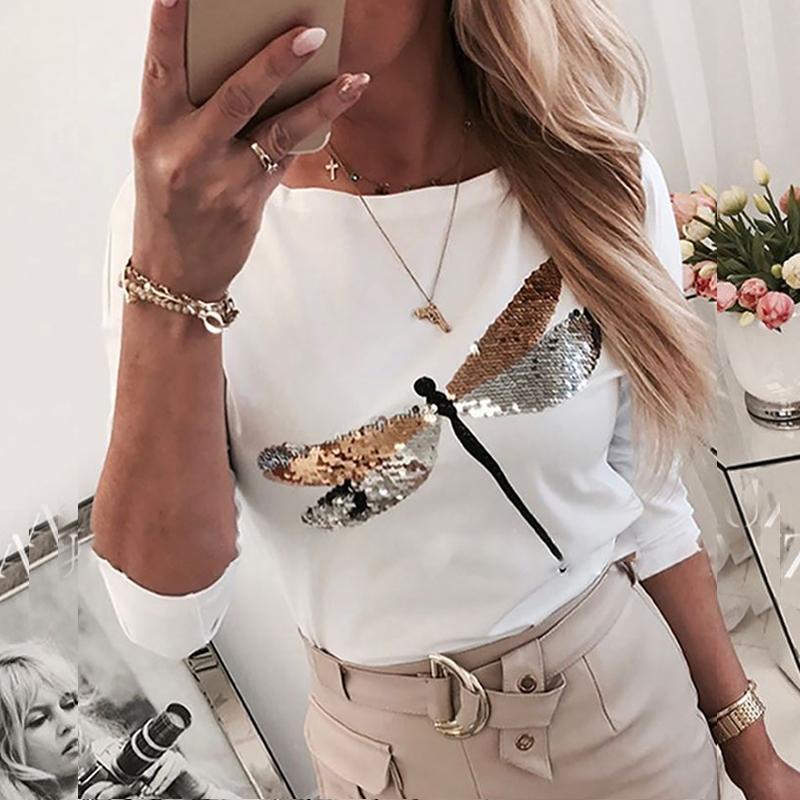 2020 primavera harajuku senhora em torno do pescoço t camisa femme mais tamanho camisa de manga longa com lantejoulas de libélula