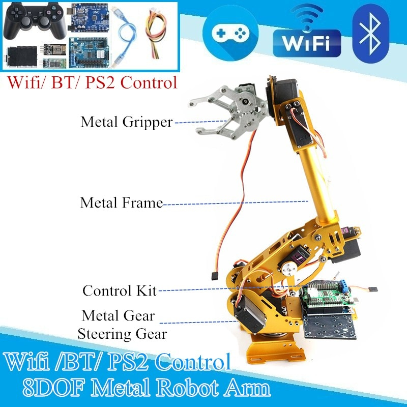 WIFI BT PS2 Control 8 DoF Manipulator Arm Metal Mechanical Hand Aluminum Alloy Robotic Manipulator A