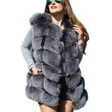 CP فو الفراء مصنع الثعلب الاصطناعي الفراء سترة المرأة الخريف الشتاء الثعلب فو الفراء معطف الأوسط طويل صدرية الإناث فو الفراء سترة CP01