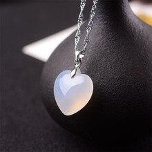 Ágata blanca Natural Calcedonia Jade amor colgante collar moda amuleto joyería tallada amuleto suerte regalos para Mujeres Hombres