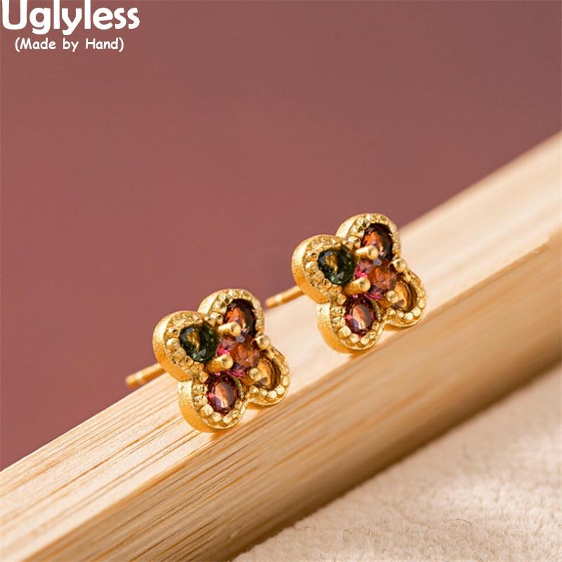 Sans Uglyless Multi couleurs naturel Tourmaline filature moulin à vent anneau goujons boucles doreilles ensembles de bijoux or 925 argent trèfle boucles doreilles gemmes