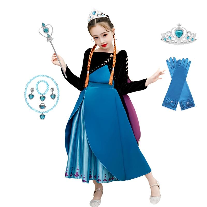 Anna 2 Dress Girls Princess Set Christmas Cosplay Birthday Party Sky Blue Princess Costume for Kids Vestidos
