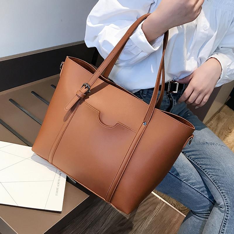 Большие однотонные женские сумки, кожаные женские сумки на плечо, дизайнерские женские сумки-мессенджеры, женские повседневные сумки-тоуты...
