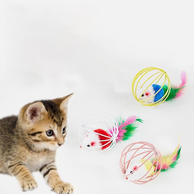 Juguete interactivo para mascotas, jaula para gatos, jaula para ratones, campana juguetes, jaula para ratones, juguete colorido Artificial para gatos, suministros para mascotas