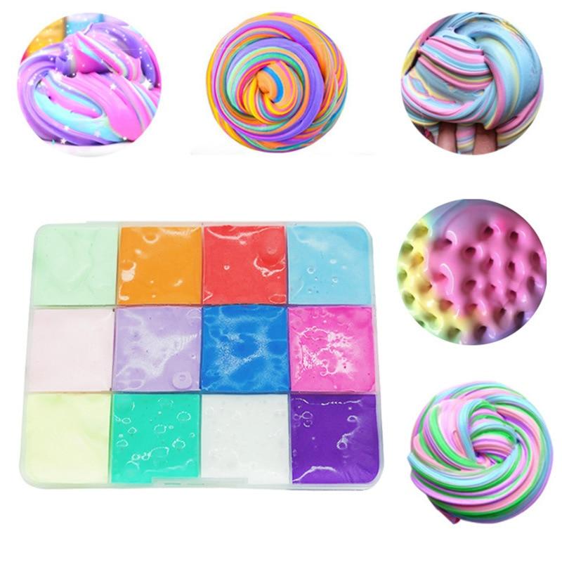 Новинка, разноцветные мягкие хлопковые слаймы для поделок, коробка для пазлов, моделирования, глина, амулеты, Снежная глина, слайм, интеракт...